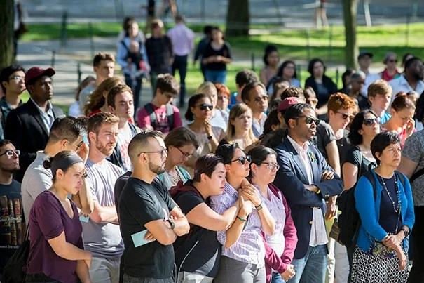 A crowd gathered at Tercentenary Theatre to mourn the victims of the deadliest mass shooting in U.S. history.