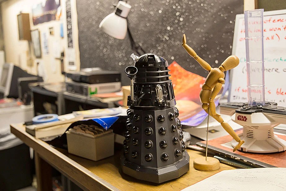 """A dalek robot, a wooden artist's mannequin, and a """"Star Wars"""" toy are at home in the Loomis-Michael Observatory."""