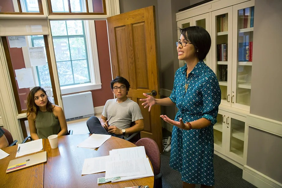 "Angela S. Allan, lecturer on history and literature, teaches ""American Economic Fictions."" The course considers the culture of American capitalism through an examination of a range of literary and historical texts. Jon Chase/Harvard Staff Photographer"