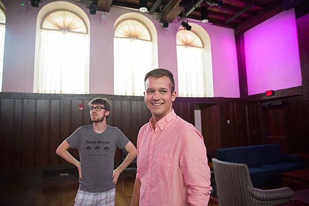"Nathaniel Brodsky '18 (left), director, and Kyle McFadden '18, producer, rehearse ""Calamus,"" an original play inspired by Walt Whitman's poetry to premiere at the Leverett House Library Theater. The play showcases the many faces of the LGBTQ+ community today and their relationships with queer history in America."