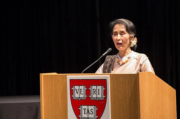 Aung San Suu Kyi, state counselor of the Republic of Myanmar, delivers the keynote address after receiving the Harvard Foundation's 2016 Harvard Peter J. Gomes Humanitarian Award.