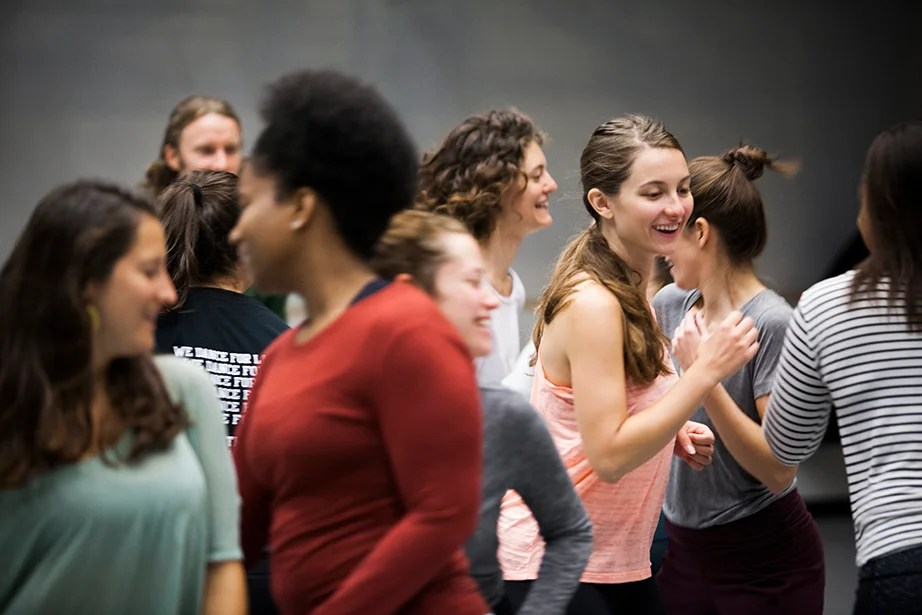 "Students including Sophie Carroll '17 (right) participate in Joy Davis' class ""Contemporary Dance: Countertechnique."" Stephanie Mitchell/Harvard Staff Photographer"