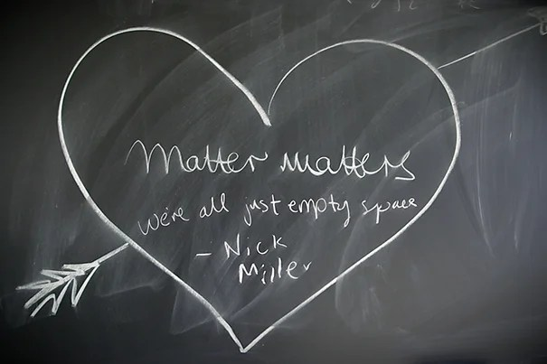 A little physicist humor written on a CERN blackboard. Joe Sherman/Harvard Staff Photographer