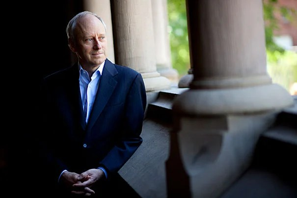 "Michael Sandel, Anne T. and Robert M. Bass Professor of Government, speaks about his latest book, ""What Money Can't Buy: The Moral Limits of Markets"" for a Harvard Bound piece in the Harvard Gazette. Michael Sandel is pictured inside Memorial Hall at Harvard University. Stephanie Mitchell/Harvard Staff Photographer"