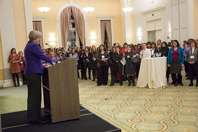 """""""Your presence here tonight — this uplifting force of nearly 150,000 Harvard and Radcliffe alumnae across the globe — was once just unimaginable,"""" Harvard President Drew Faust told the approximately 500 alumnae and students who attended Women's Weekend during its kickoff on Friday."""