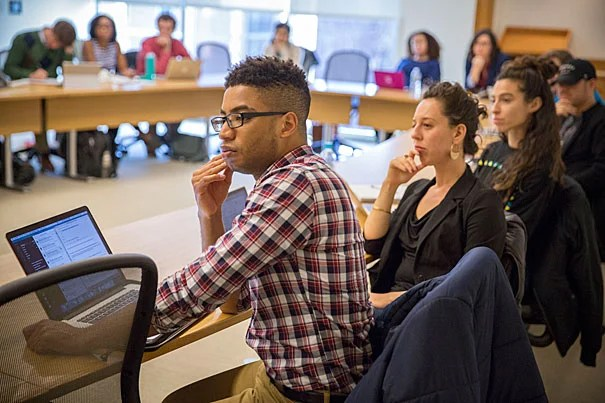 Michael Huggins, (from left) HKS, Juliana Ratner, HLS, Maya Cohen, HLS listen as Bruce Western, Professor of Sociology, Vincent Schiraldi, HKS Senior Research Fellow, and Nancy Gertner, Senior Lecturer on Law teach Criminal Justice class inside Wasserstein Hall at the Harvard Law School. Kris Snibbe/Harvard Staff Photographer