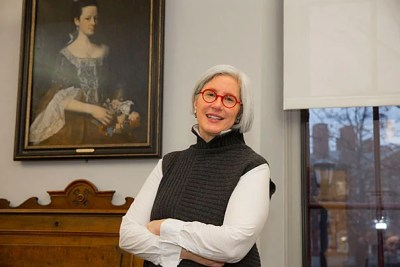 """Harvard historian Jane Kamensky discusses her new book, """"A Revolution in Color: The World of John Singleton Copley,"""" about the iconic artist's divided loyalties during the Revolution. Copley's portrait of Dorothy Murray hangs in her office in Radcliffe's Schlesinger Library."""