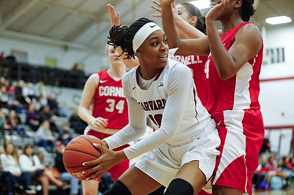 Destiny Nunley '17 looks to pass beneath the basket on the way to a 62–59 Crimson victory over Cornell.