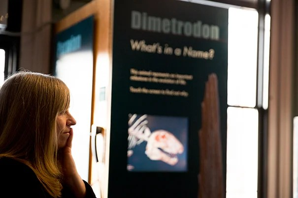 """Whats in a name"" kiosks have debuted at the Harvard Museum of Natural History. Jane Pickering HMSC executive director, led the discussion. Rose Lincoln/Harvard Staff Photographer"