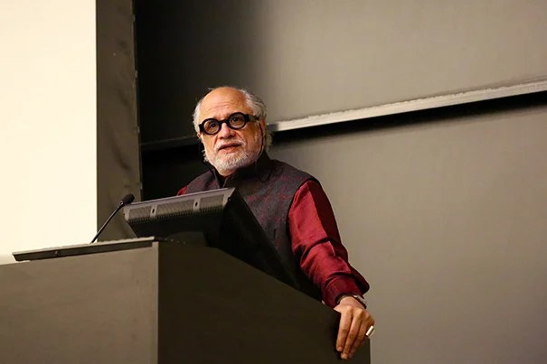 """Homi K. Bhabha, Anne F. Rothenberg Professor of the Humanities and director of the Mahindra Humanities Center at Harvard, delivers a keynote titled """"Contemporary Reflections on the Humanities"""" during the sixth annual National Collegiate Research Conference."""