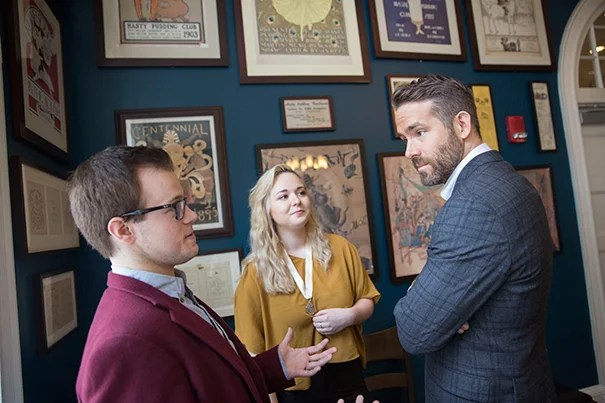 Lola Radev '19 and Derek Speedy '17 lead a tour for Hasty Pudding Man of the Year, Ryan Reynolds inside Farkas Hall where Hasty Pudding Theatricals members will roast the actor before honoring him with an award. Kris Snibbe/Harvard Staff Photographer