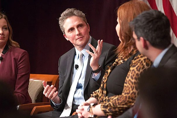 James Pethokoukis (Columnist and Blogger, American Enterprise Institute), talks with April Ponnuru (second from the right) and Oren Cass during a panel about the future of the conservative agenda for America. The panel is hosted in the JFK JR Forum. Photo by Silvia Mazzocchin