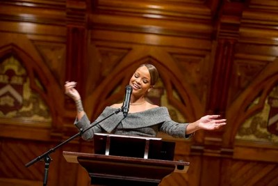 """I know that each and every one of you can help someone else,"" Rihanna told the crowd at Sanders Theatre. ""All you need to do is help one person, expecting nothing in return. To me, that is a humanitarian."""