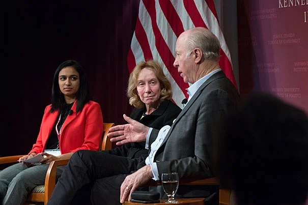 Chairperson Nivedita Khandkar '19 (left) leads a panel discussion with presidential historian Doris Kearns Goodwin and Professor of Public Service David Gergen at the National Campaign for Political and Civic Engagement conference, which focused on how to reconnect the nation's polarized factions.