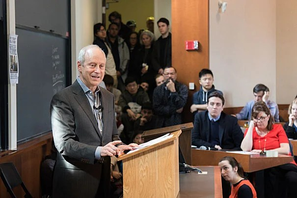 """In his lecture titled """"Why Trump? What Now?"""" Michael Sandel, Anne T. and Robert M. Bass Professor of Government, argued that though his vitriolic campaign rhetoric often took precedence in media coverage, """"Donald Trump tapped into a wellspring of anxieties and legitimate grievances, to which the mainstream parties offered no compelling answers."""""""