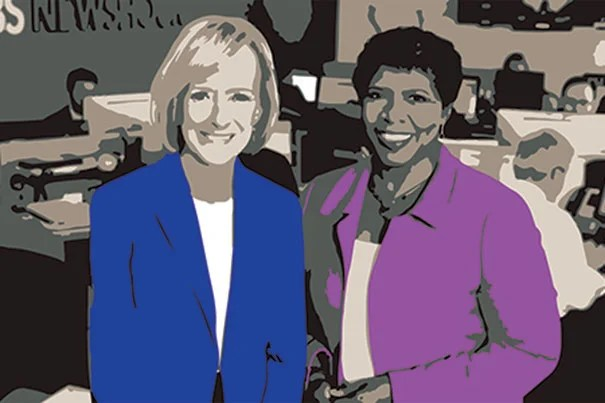 """PBS """"Newshour"""" co-anchors Judy Woodruff (left) and the late Gwen Ifill will be awarded the Radcliffe medal for their journalistic influence and integrity both as individuals and partners. Journalist Michele Norris will accept Ifill's award."""