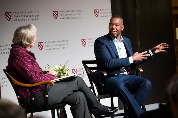 Universities and Slavery: Bound by History is a daylong conference that takes place in the Knafel Center at Radcliffe Institute for Advanced Study. Author and journalist Ta-Nehisi Coates is the keynote speaker. A conversation between Harvard President Drew Faust (left) and Ta-Nehisi Coates takes place following his talk. Stephanie Mitchell/Harvard Staff Photographer