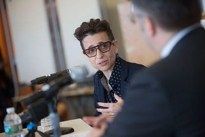 In her discussion with Shorenstein Director Nicco Mele, Russian-American journalist Masha Gessen warned against investing too much hope in theories about the Trump Campaign's possible collusion with Russian Intelligence, instead encouraging those concerned about democratic institutions to stay active and engaged in politics.