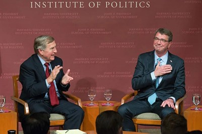 Ash Carter (right), former U.S. secretary of defense under Barack Obama, will succeed Graham Allison (left) as Belfer Center director. Carter, a former Kennedy School professor of science and international affairs, plans to focus his scholarship on the influence of innovation and technology at home and abroad.