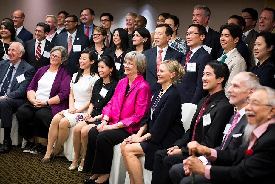 Harvard President Drew Faust meets with Asia Club leaders at a reception before the Your Harvard Singapore program.