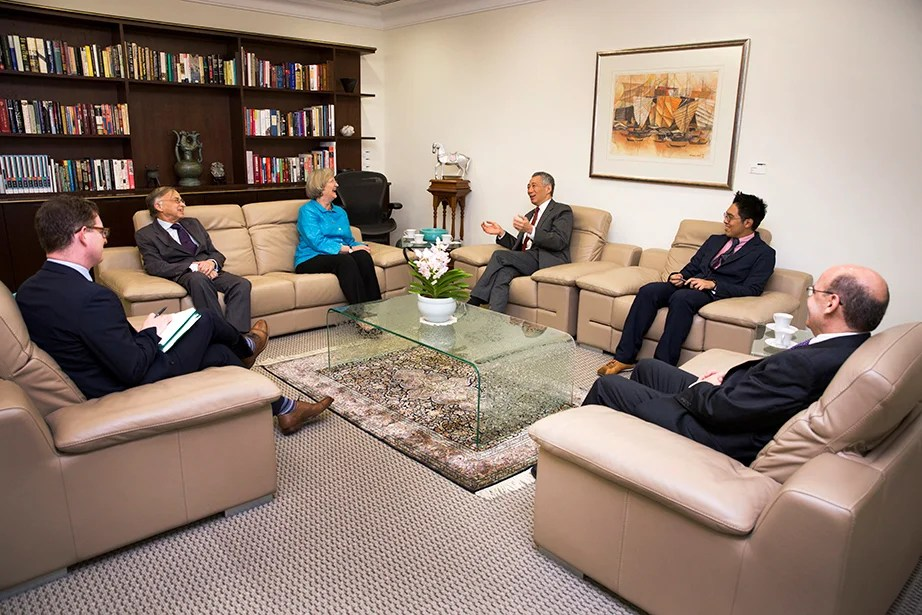 Drew Faust meets with Singapore Prime Minister Lee Hsien Loong in his office. Loong completed a master's degree at Harvard Kennedy School in 1980.