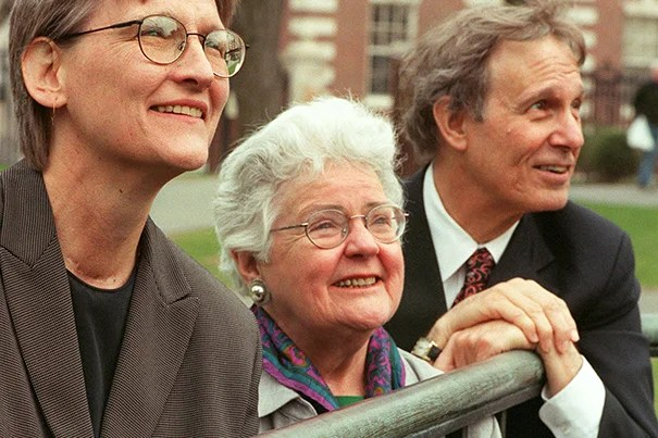 A formidable educator, academic administrator, and stalwart advocate for women's higher education throughout her life, Mary Maples Dunn's influence on Harvard reverberates to this day. In this 2000 photo, Dunn (center) is pictured with Drew Faust, who had been appointed dean of the Radcliffe Institute, and then-Harvard President Neil Rudenstine.