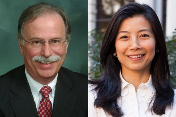 Overseers since 2012, Scott Abell '72 and Tracy Palandjian '93 will serve in the board's top leadership roles for the final year of their six-year terms, succeeding Kenji Yoshino '91 and Nicole Parent Haughey '93, respectively.