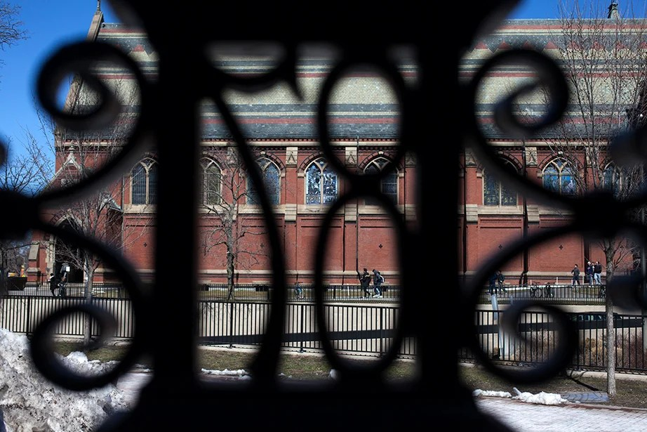 The Class of 1887 Gate, North. The 87 of the wrought-iron gate frames students walking by Annenberg Hall.