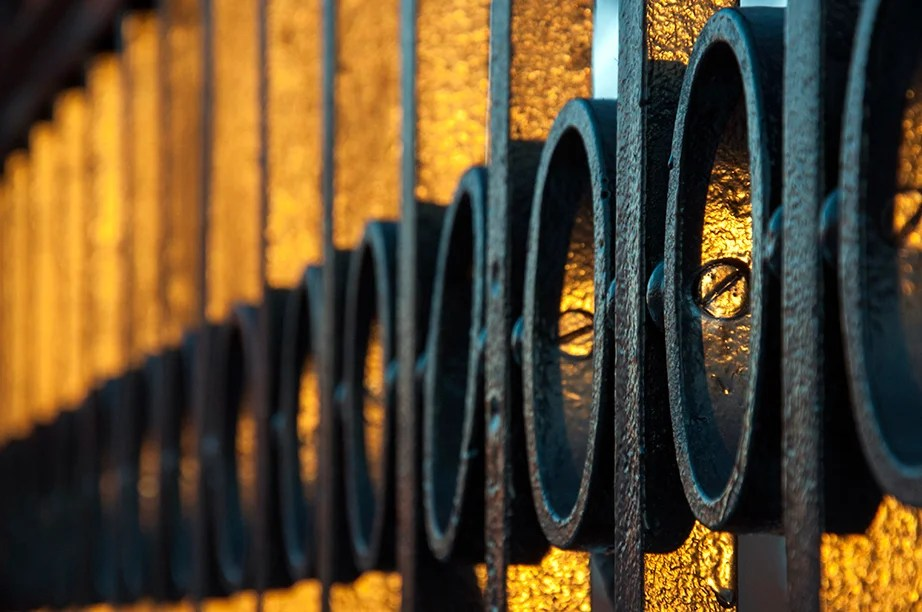 North Gates fence. Sunset turns the wrought iron into gold.