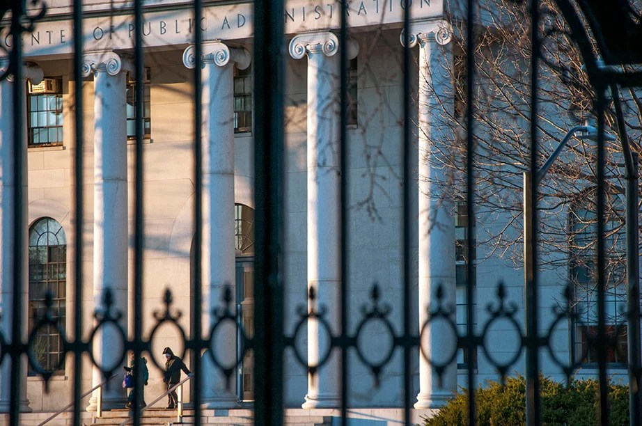 """The Class of 1881 Gate, North. In front of Phillips Brooks House, the portal invites students to """"come within its gates, in order that in whole-hearted service to the truth, they may enter into life and so be free."""""""