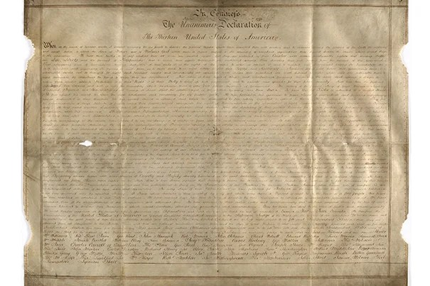 "The parchment the Declaration in Congress of the thirteen United States of America (pictured) was written on caught Emily Sneff's attention. Sneff, a researcher with the Declaration Resources Project, also found names weren't in the right order and ""it's in a handwriting I hadn't seen before."""