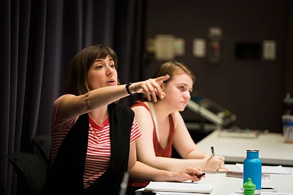 "In just two years, the Theater, Dance & Media Department (TDM) has seen extensive growth in concentrators and output. During rehearsal for ""Far Away,"" TDM's latest theater production, Director Annie Tippe (left) and Assistant Director Sarah Grammar '18 give direction to actors."