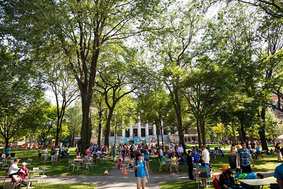 Faculty and staff enjoy an ice cream break in Harvard Yard in summer 2013. President Faust also hosted an ice cream social for members of the community on her first day as president in July 2007. Stephanie Mitchell/Harvard Staff Photographer