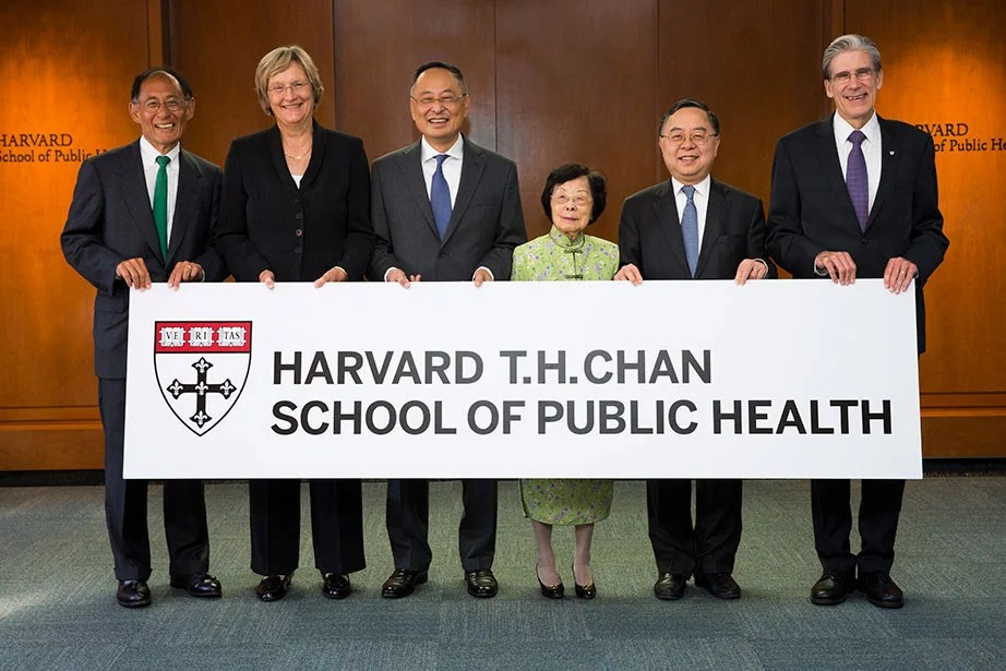 Harvard Corporation Senior Fellow, Bill Lee (from left), President Faust, Gerald Chan, Mrs. T.H. Chan, Ronnie Chan, and Dean Julio Frenk are pictured at the Harvard T.H. Chan School of Public Health, newly named in recognition of a $350 million gift by the family of the late T.H. Chan in September 2014. Stephanie Mitchell/Harvard Staff Photographer