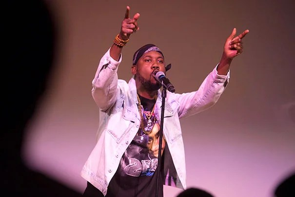 """Rapper Tef Poe, 2016-2017  American Democracy Project Fellow at the Charles Warren Center, headlined a free concert at the Ed Portal, featuring poets and musicians from Boston and Poe's native St. Louis as well as a full performance of his latest album """"Black Julian."""""""