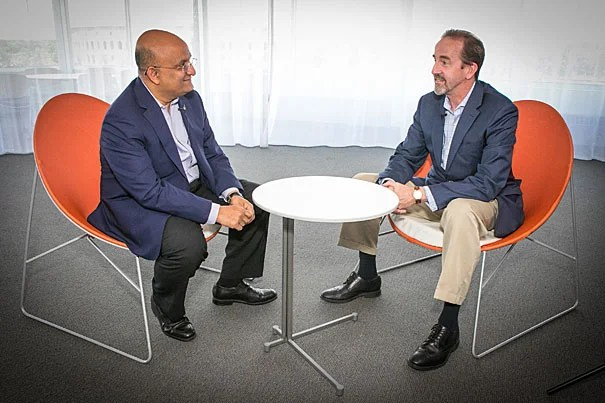 Nitin Noria (left) and Frank Doyle, respective deans of HBS and SEAS, discuss the new joint MS/MBA program aimed at shaping leadership in tech, which will launch in August 2018.