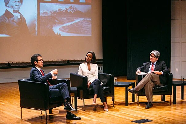 "Harvard Professor Archon Fung (from left), Assistant Professor Sarah Lewis '01, speak with Erik Takeshita, M.P.A. '06, at the Your Harvard: Twin Cities event. The theme: ""The Art of Change."""