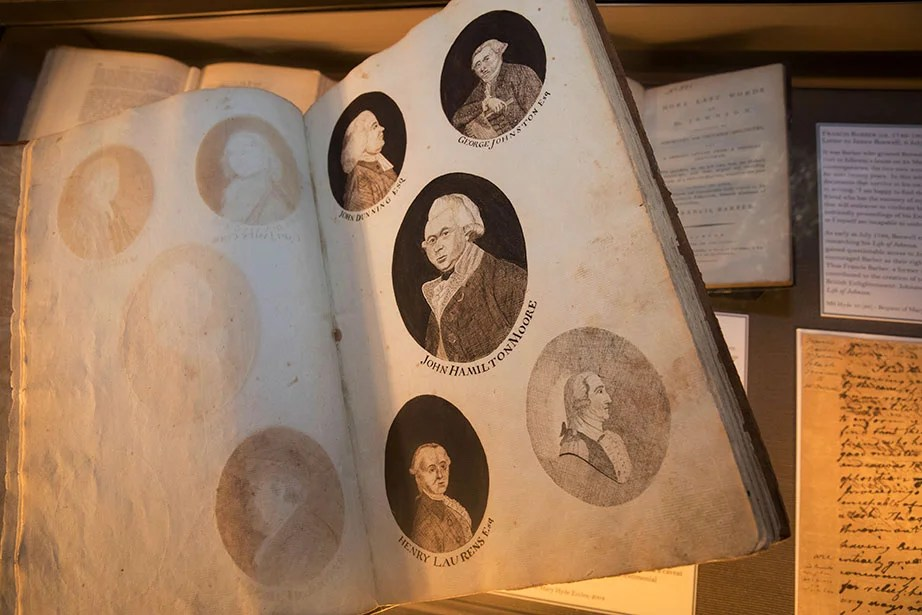 This copy of printed images in a notebook made by Phebe Folger Coleman (1771–1857) features a cameo portrait of John Hamilton Moore (center), whose research developed the theory and practice of finding the latitude, longitude, and variation of the compass. Collection of Houghton Library.