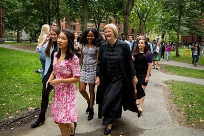 President Drew Faust welcomed the Class of 2021 to Harvard as she made her way to Tercentenary Theatre to present her final convocation address.
