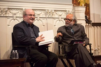 """Acclaimed author Salman Rushdie (left) discussed his latest novel """"The Golden House"""" with Homi Bhabha, director of the Mahindra Humanities Center, and passed on advice to aspiring writers."""