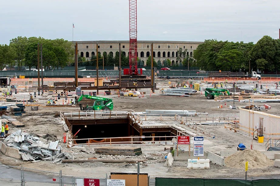 Steel girders are being installed at the Harvard University Science and Engineering Complex in Allston.