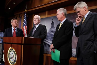 Republican Senators (from left) Lindsey Graham, John McCain, Ron Johnson, and Bill Cassidy speak  following the failure of the GOP-led congress to repeal the ACA. A bipartisan compromise appears likely despite opposition from President Trump.