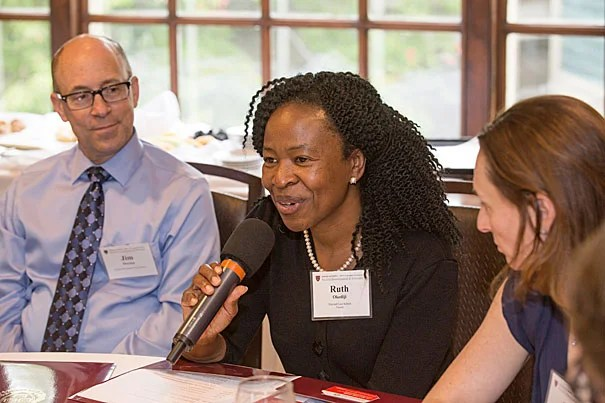 Ruth Okediji, center, Jeremiah Smith, Jr. Professor of Law at HLS. Judy Singer's office hosts new faculty at the Faculty Club..Jon Chase/Harvard Staff Photographer