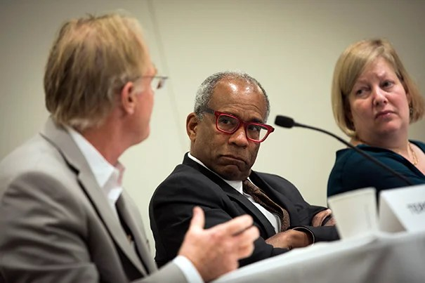 William W. Fisher (from left), Randall Kennedy, and Carol Steiker speak during a panel discussion on Thurgood Marshall.
