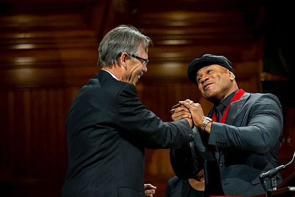 "Glenn Hutchins congratulates honoree LL Cool J at the fifth annual Hutchins Center Honors. ""Stay strong,"" said LL Cool J. ""Fear not. Stay faith-filled. Better days are coming."""