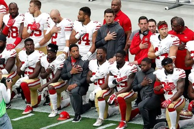 Dozens of players and staff across the NFL have knelt during the national anthem for the last few weeks in solidarity with former San Francisco 49er Colin Kaepernick (not pictured).