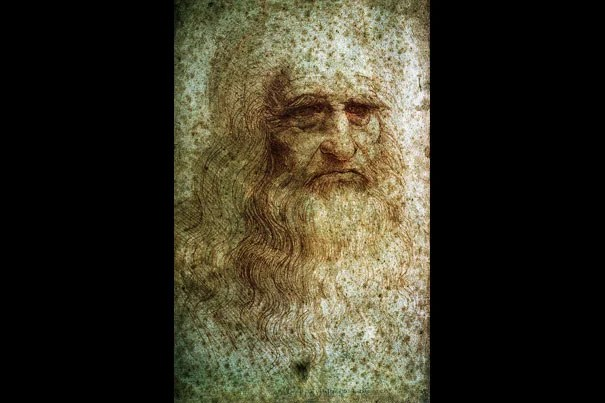 A drawing of an elderly bearded man, believed to be a self-portrait of da Vinci. Harvard Fine Arts Library, Digital Images & Slides Collection 1998.00960