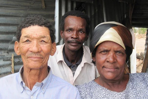 South African individuals in a household that exemplify the substantial skin pigmentation variability in the ‡Khomani and Nama populations.