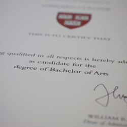 Admissions letters