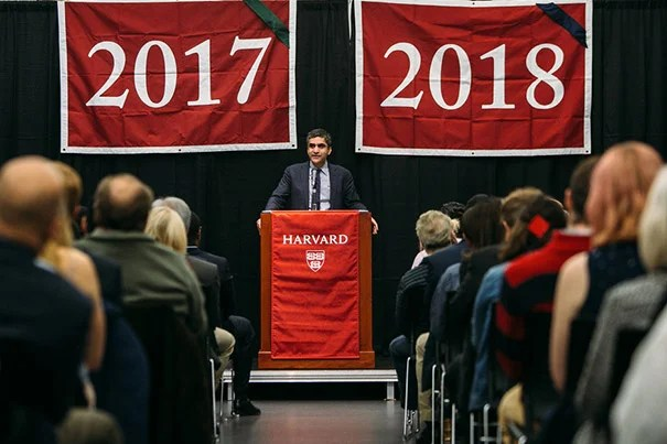 Dean Rakesh Khurana encouraged the Harvard graduates